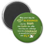 Irish Blessing for Courage - Typography in Green 6 Cm Round Magnet