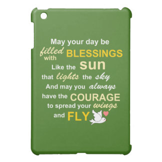 Irish Blessing for Courage - Typography in Green iPad Mini Case