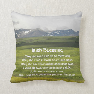 Irish Blessing Green Valley Photo Square Throw Pillow