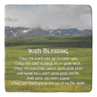 Irish Blessing Green Valley Photo Stone Trivet