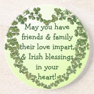 Irish blessing heart coaster