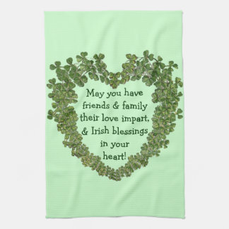 Irish blessing heart kitchen towel