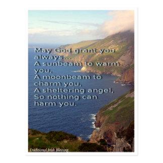 Irish Blessing postcard, Ireland coastline