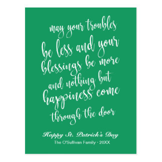 Irish Blessing St. Patrick's Day Green & White Postcard