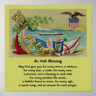irish blessing vintage art poster