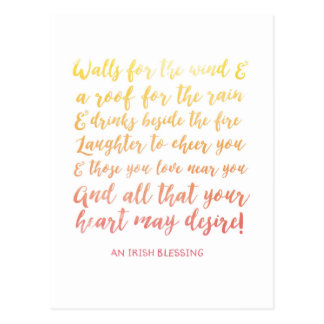 Irish Blessing Watercolor Typography Postcard