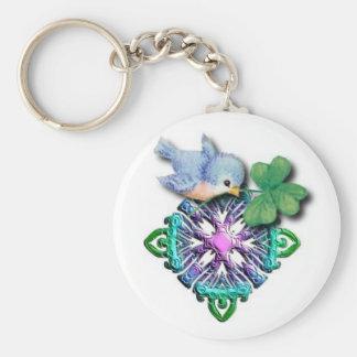 Irish Bluebird with Shamrock Basic Round Button Key Ring