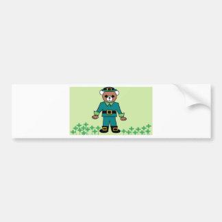 Irish boy bear with shamrock bumper sticker
