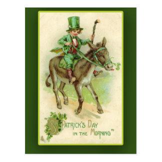 Irish Boy on Donkey St. Patrick's Day Cards