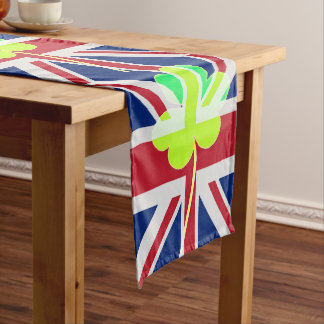 Irish British Flag Shamrock Clover St. Patrick UK Long Table Runner