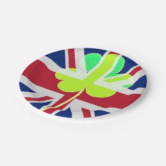 Irish British Flag Shamrock Clover St. Patrick UK Paper Plate