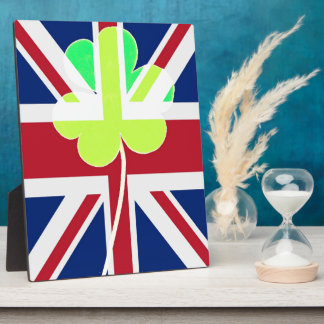 Irish British Flag Shamrock Clover St. Patrick UK Plaque