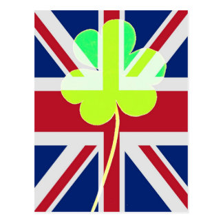 Irish British Flag Shamrock Clover St. Patrick UK Postcard