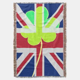 Irish British Flag Shamrock Clover St. Patrick UK Throw Blanket
