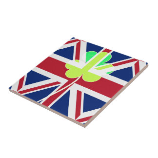 Irish British Flag Shamrock Clover St. Patrick UK Tile