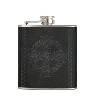 Irish Celtic Cross Faux Leather Hip Flask