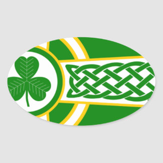 Irish_Celtic_Cross Oval Sticker