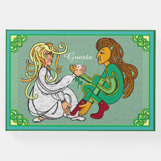Irish celtic lovers green knotwork art