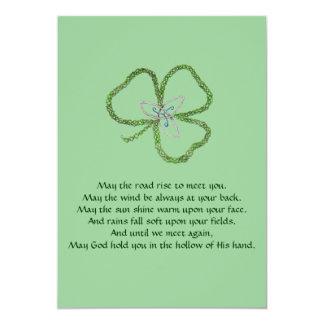 Irish Celtic Shamrock Knot 13 Cm X 18 Cm Invitation Card