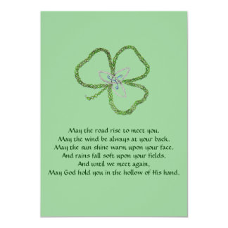 "Irish Celtic Shamrock Knot 5"" X 7"" Invitation Card"
