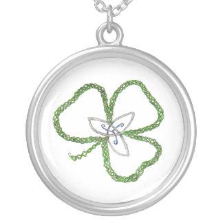 Irish Celtic Shamrock Knot Round Pendant Necklace