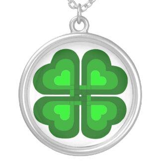 Irish Celtic Shamrock Round Pendant Necklace
