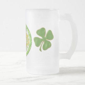 Irish Charm Whimsical St Patricks Day Frosted Glass Mug