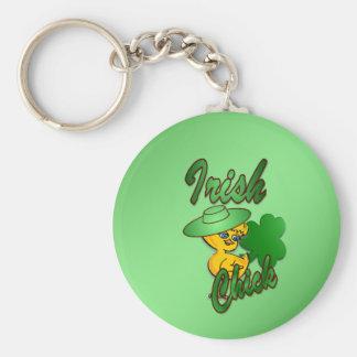 Irish Chick in Green Key Ring