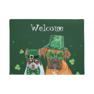 Irish Chihuahua and Boxer welcome door mat