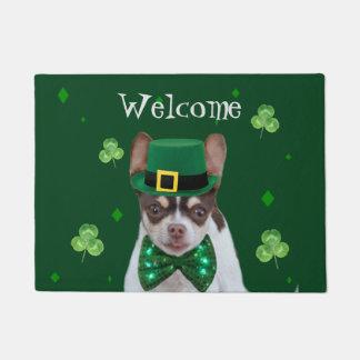 Irish Chihuahua dog welcome door mat