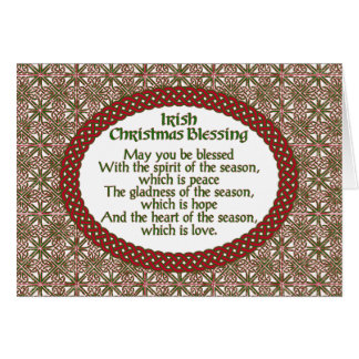 Irish Christmas Blessing, Red Green Celtic Holiday Card