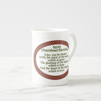 Irish Christmas Blessing, Red Green Celtic Holiday Tea Cup