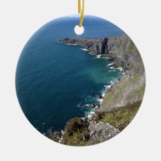 Irish Cliffs In Dingle Ireland By The Ocean Round Ceramic Decoration