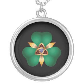 Irish Clover and Trinity Knot Charm Necklace
