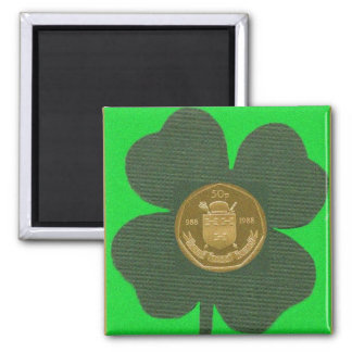 IRISH CLOVER & COIN SQUARE MAGNET