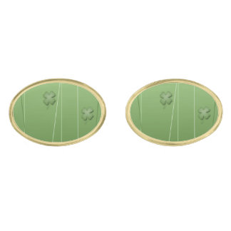 Irish Clover Design Gold Finish Cuff Links