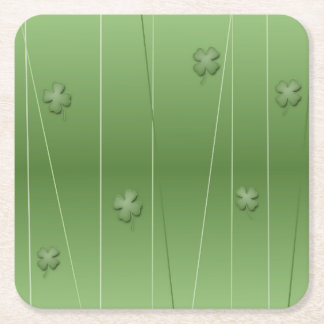 Irish Clover Design Square Paper Coaster