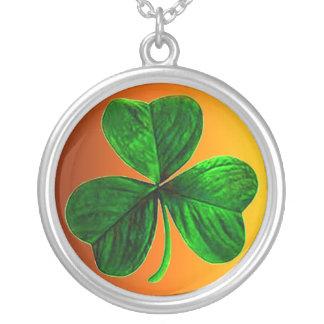 Irish Clover Round Pendant Necklace