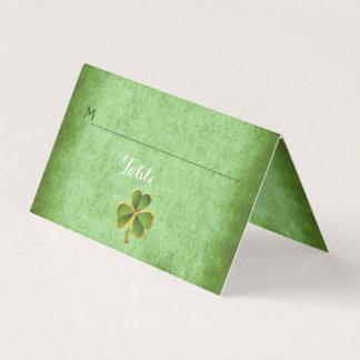 Irish clover & veil wedding folded escort card