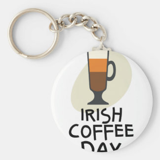 Irish Coffee Day - Appreciation Day Basic Round Button Key Ring