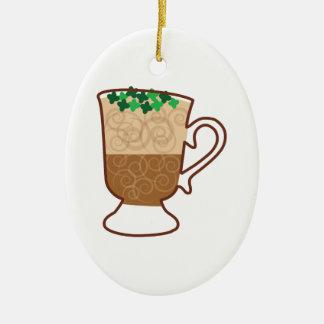Irish Coffee Ceramic Oval Ornament