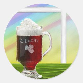 Irish Coffee Rainbow -holiday- -cards- Round Sticker