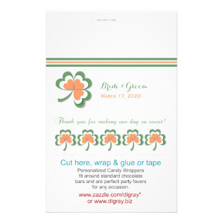 Irish Colors Clover Wedding Candy Wrappers 14 Cm X 21.5 Cm Flyer