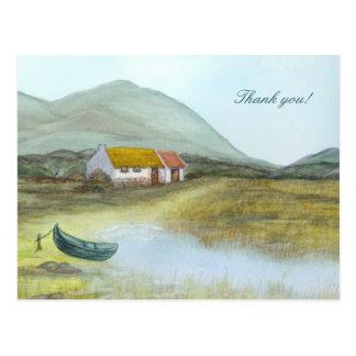 """Irish Cottage"" Thank you! by Brigid O'Neill Hovey Postcard"