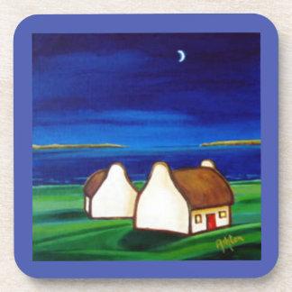 Irish Cottages at Night Coaster