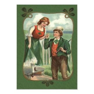 Irish Couple Shillelagh Shamrock 13 Cm X 18 Cm Invitation Card
