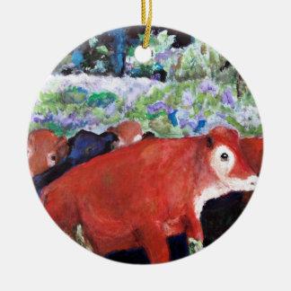 Irish Cows, Original Art, Ireland Ceramic Ornament