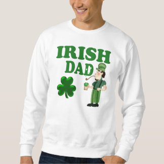 Irish Dad With Green Beer and Pipe Pull Over Sweatshirt