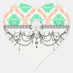 irish damask heart stickers