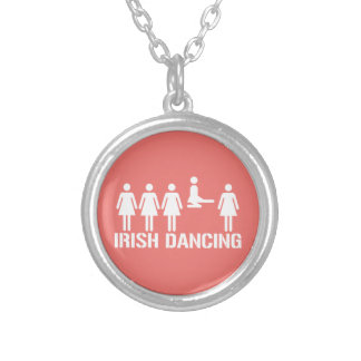 Irish dance silver plated necklace